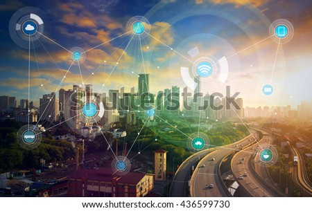 smart city and wireless communication network, abstract image visual, internet of things #436599730