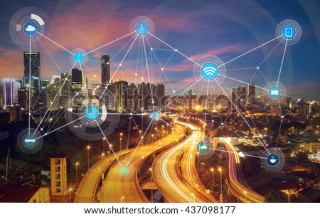 smart city and wireless communication network, abstract image visual, internet of things #437098177