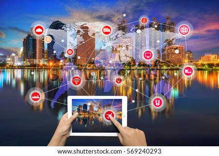 smart city and wireless communication network, Bangkok cityscape. Bangkok night view in the business district. at twilight, abstract image visual, internet of things concept #569240293