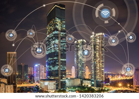Smart city and wireless communication network concept. Digital network connection lines of Hanoi city #1420383206