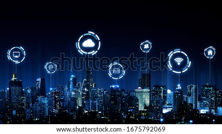 Smart city and wireless communication network concept. Internet of things (IOT). Information communication technology (ICT)