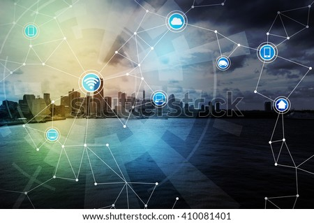 Shutterstock smart city and wireless communication network, IoT(Internet of Things), ICT(Information Communication Technology), digital transformation, abstract image visual