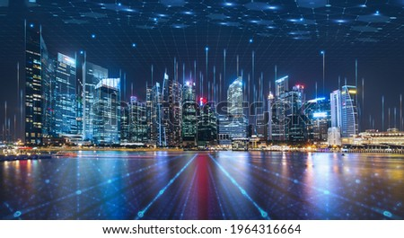 Smart city dot point connect with gradient grid line, connection technology concept. Night city banner with big data.