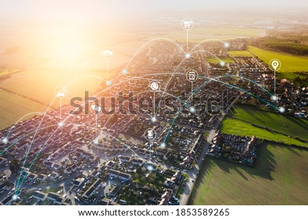 Smart city, internet of thing hosing urban masterplan sunset big data network connections