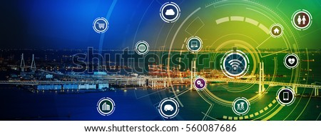 smart city panorama and wireless communication network concept, Internet of Things, Information Communication Network, rectangular image visual #560087686