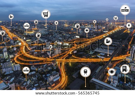 Smart city things icons mesh on city traffic night background  and wireless communication network, business district with expressway and highway. (Business and Internet concept)  #565365745