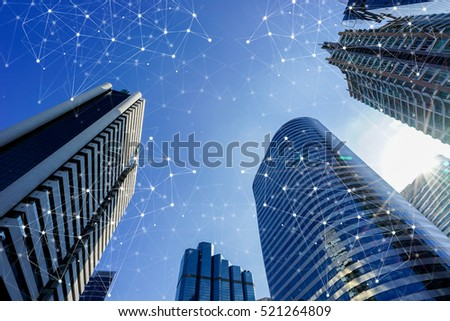 Smart cityscape high-tech tone connected, wireless communication network, abstract image visual
