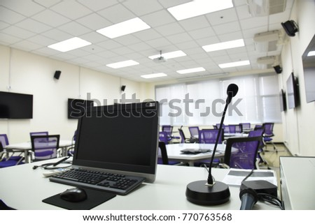 smart class room in the university, in concept of education technology, internet, audio visual equipment