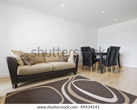 smart contemporary living room with dining table