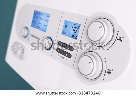 Smart control panel household gas boiler closeup 3d. Gas boiler start, volume button.