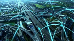 Smart digital city highway with globalization graphic of connection network abstract line . Concept of future 5G smart wireless digital city and social media networking systems .