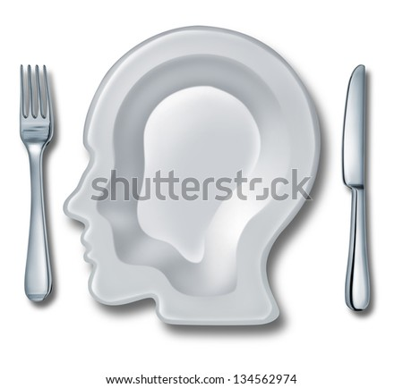 Smart eating and recipe menu planning with a white ceramic plate in the shape of a human head as an intelligent food guide concept for healthy living and dieting choices.