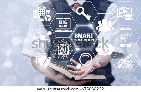 Smart Education AI Big Data Cloud Computing Concept. Student offers smart education icon on virtual screen. Intellectual e-learning technology. #675036232