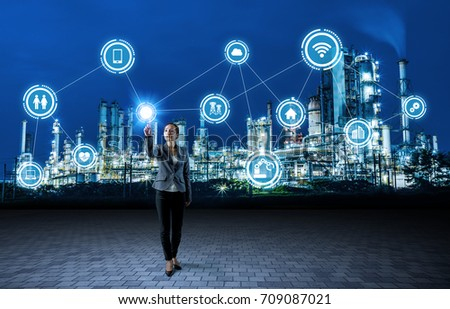 smart factory and internet of things. factory automation. #709087021