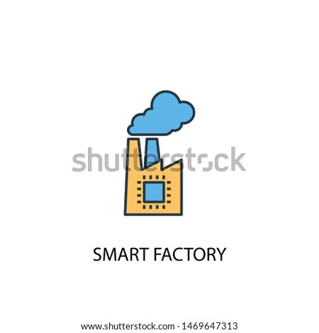 smart factory concept 2 colored line icon. Simple yellow and blue element illustration. smart factory concept outline symbol design