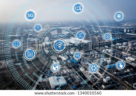 Smart factory concept. Internet of Things. Factory Automation. Sensor network #1340010560