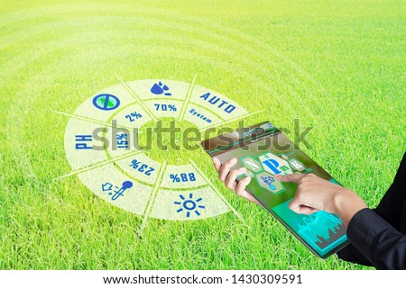 Smart farming with IoT, futuristic agriculture concept : Business woman monitoring all Farm status and situation control with smart device, analysis and report with immersive experience on holographic #1430309591