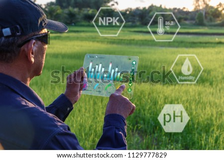 Smart farming with IoT, futuristic agriculture concept : Farmer wears VR or AR glasses while monitoring rainfall, temeprature, humidity, soil pH  by using a tablet connected to internet via satellite