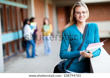 smart female college student on campus