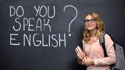 Smart girl asking Do you speak English, language courses with native speaker