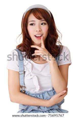 Smart girl thinking, half length closeup portrait on white background. - stock photo