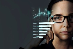 Smart glasses with stats hologram innovative technology