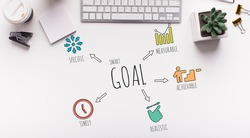 Smart Goal Wordcloud With Words Over White Office Table Background With Motivational Words. Goals Setting And Achievement Motivation Concept. Panorama, Top View Shot
