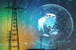 Smart grid and global network concept.