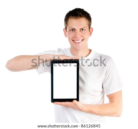 smart guy with the tablet isolated on white