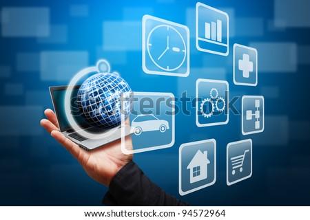 Smart hand grab the globe of multi icon