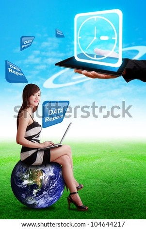 Smart hand hold Clock icon on digital touch pad : Elements of this image furnished by NASA