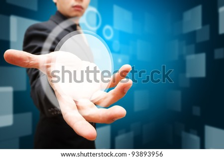 Smart hand hold the circle digital background