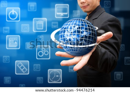 Smart hand hold the globe and multi icon