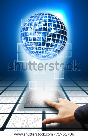 Smart hand press on CPU computer and digital background