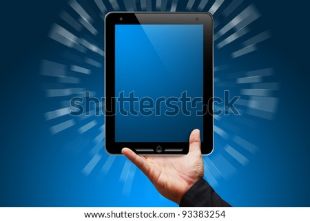 Smart hand show the Tablet computer