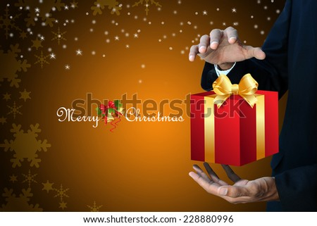 Smart hand showing the gift box