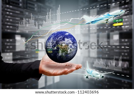 Smart hand take control the digital world : Elements of this image furnished by NASA