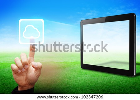 Smart hand touch on cloud computing icon from tablet pc