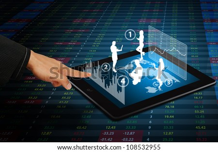 Smart hand touch on 3D graph and people on world map