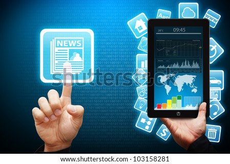 Smart hand touch on news icon from tablet computer