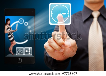 Smart hand touch the Clock icon from mobile phone