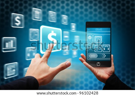 Smart hand touch the Money icon from mobile phone