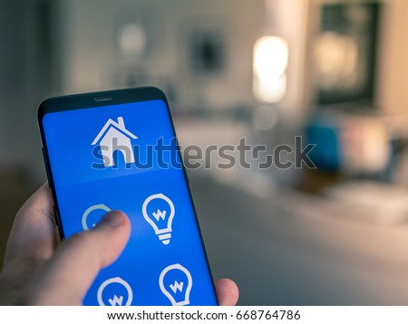 Smart home automation, cell phone device that controls the lights in the house.