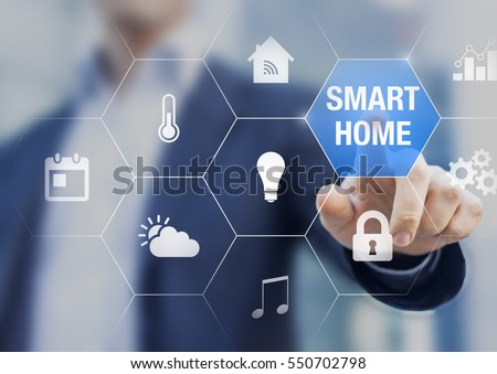 Smart home automation concept with icons showing the functionalities of this new technology and a person touching a button #550702798