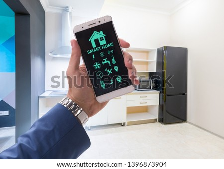 Smart home concept with devices and appliances #1396873904