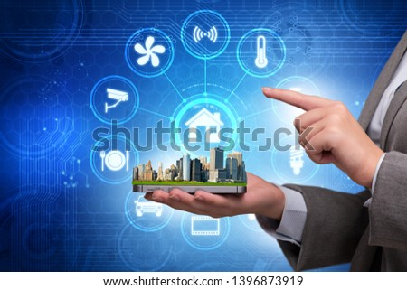 Smart home concept with devices and appliances #1396873919