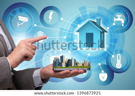 Smart home concept with devices and appliances #1396873925