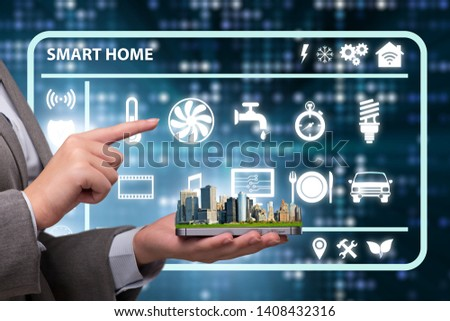 Smart home concept with devices and appliances #1408432316