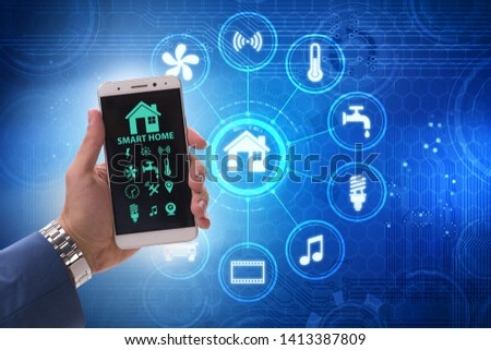 Smart home concept with devices and appliances #1413387809