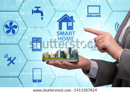 Smart home concept with devices and appliances #1413387824